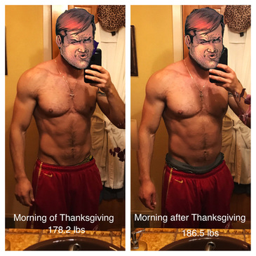 before and after thanksgiving feast.